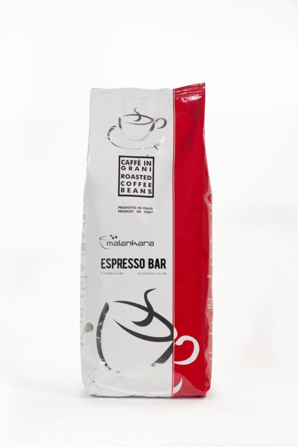 Kaffeepackung Malankara Espresso Bar mit ganzen Bohnen 1 kg Farbe weiss rot