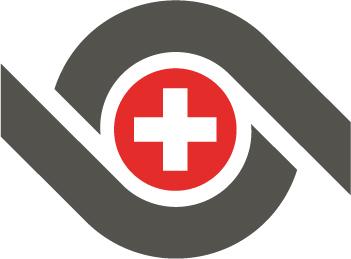 Thermoplan logo knopf mit schweizer Kreuz rot, weiss, schwarz